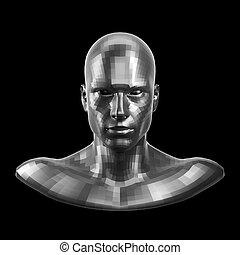 occhi, rendering., robot, sfaccettato, faccia, dall'aspetto, macchina fotografica, fronte, argento, 3d