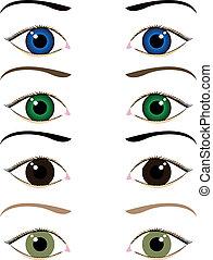 occhi, set, cartone animato