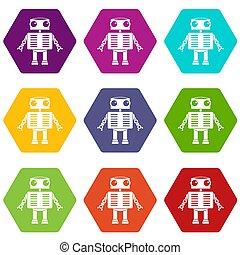 occhi, set, colorare, grande, hexahedron, robot, icona