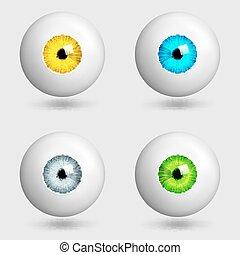 occhi, set, iridi, differente, realistico, colori