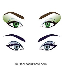 occhi, set, realistico, vettore, femmina, sopracciglia, cartone animato