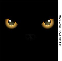 occhi, sfondo nero, giallo