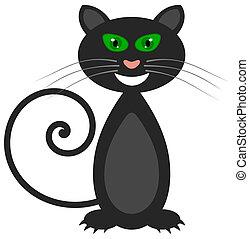 occhi, verde, sorridente, gatto