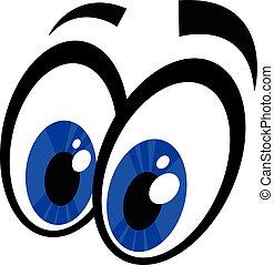 occhi, vettore, cartone animato