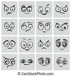 occhi, vettore, nero, cartone animato, set