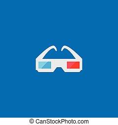 occhiali, 3d, icona