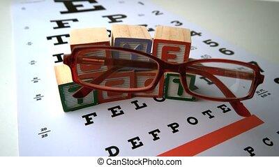 occhiali, cadere, su di, prova occhio, con