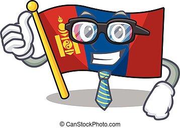 occhiali, carattere, cartone animato, fresco, mongolia, uomo affari, rotolo, bandiera