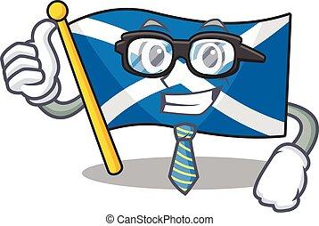 occhiali, carattere, cartone animato, fresco, uomo affari, scozia, rotolo, bandiera