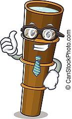 occhiali, carattere, cartone animato, fresco, uomo affari, telescopio, rotolo