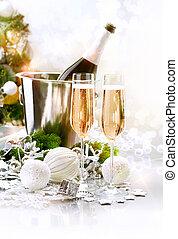 occhiali, champagne, nuovo, due, celebration., anno