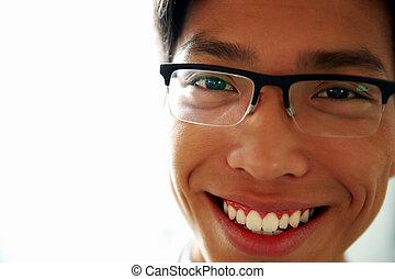 occhiali, closeup, asiatico, ritratto, uomo, felice