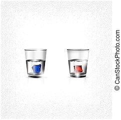 occhiali, colorato, ghiaccio, due