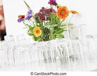 occhiali, con, fiori