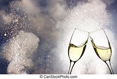 occhiali, contro, champagne, luci, vacanza