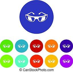 occhiali da sole, appartamento, vettore, set, icone
