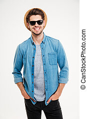 occhiali da sole, giovane, allegro, attraente, ritratto, cappello, uomo