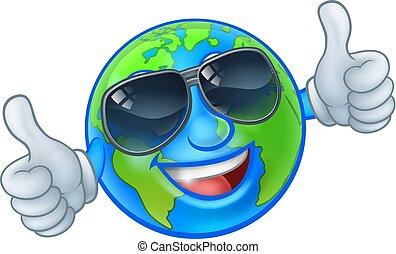 occhiali da sole, globo, tonalità, mondo, terra, cartone animato, mascotte