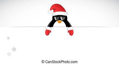occhiali da sole, guanti, allegro, pinguino, natale, rosso, fresco