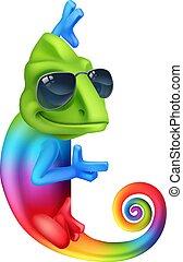 occhiali da sole, indicare, camaleonte, segno, cartone animato, fresco