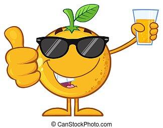 occhiali da sole, pollice, vetro, dare, carattere, su, succo, frutta, presa a terra, arancia, cartone animato, mascotte