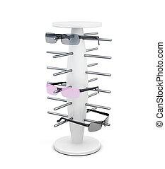 occhiali da sole, render, isolato, fondo., bianco, scaffale, 3d