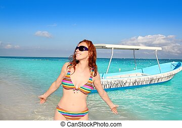 occhiali da sole, turista, tropicale, bikini, mare, spiaggia