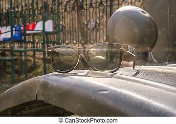 occhiali da sole, vecchio, primavera, automobile, militare, giorno