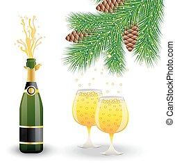 occhiali, due, bottiglia champagne