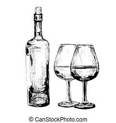 occhiali, due, bottiglia, vino