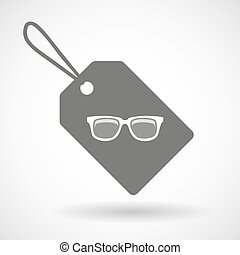 occhiali, etichetta, icona
