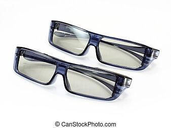 occhiali, fondo, 3d, bianco