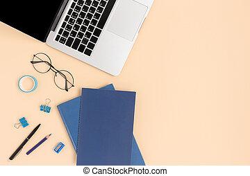 occhiali, fondo., laptop, beige, vista, libri, cima, ...