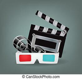 occhiali, illustrazione, film, oggetti, 3d
