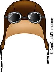 occhiali protezione, cappello, retro