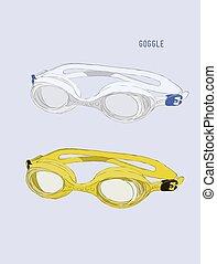 occhiali protezione, vector., nuoto