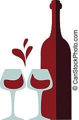 occhiali, schizzo, scorie, bottiglia vino, rosso
