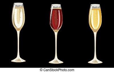 occhiali, sfondo scuro, differente, champagne
