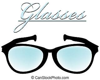 occhiali, silhouette, isolato, bianco