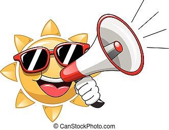 occhiali sole indossare, sole, isolato, megafono, cartone animato, parlante