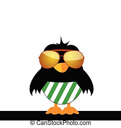 occhiali, uccello verde, calzoncini