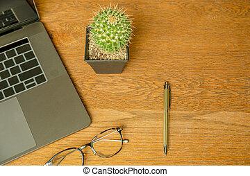 occhiali, ufficio, cima, laptop, scrivania, pen., vista