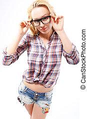 occhiali, ?, uno, elegante, addizione
