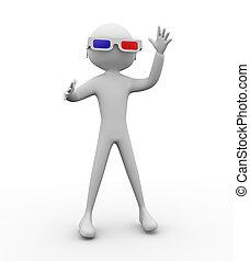 occhiali, uomo, 3d
