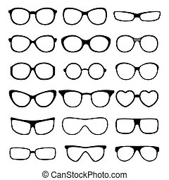 occhiali, vettore, set.