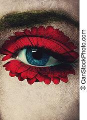 occhio blu, e, fiore