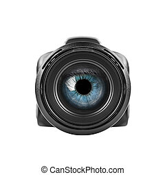 occhio blu, guardando attraverso, uno, macchina fotografica digitale, lens.