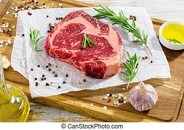 occhio, carne, tagliere, fresco, bistecca, costola