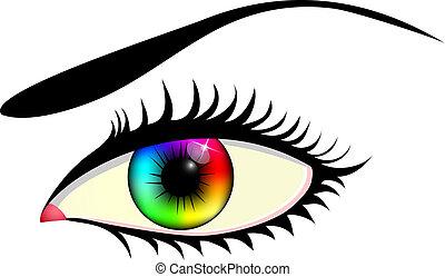 occhio, colorito, iride