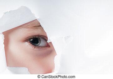 occhio, dall'aspetto, carta, attraverso, bambino, buco